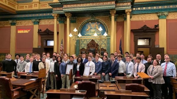 Lansing Catholic Football Team at State Capitol