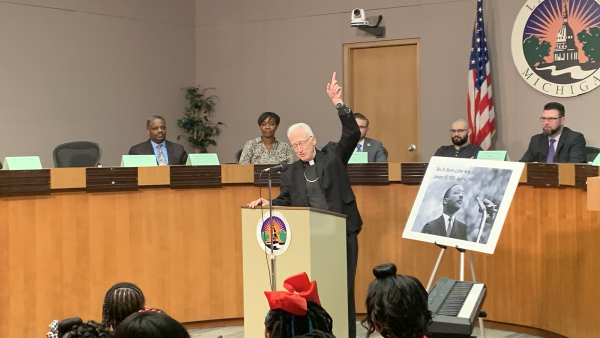 Bishop Boyea at Lansing City Council